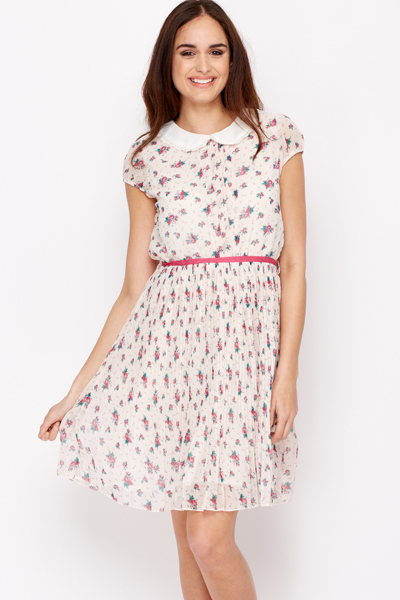 Lace Trim Collar Pleated Dress