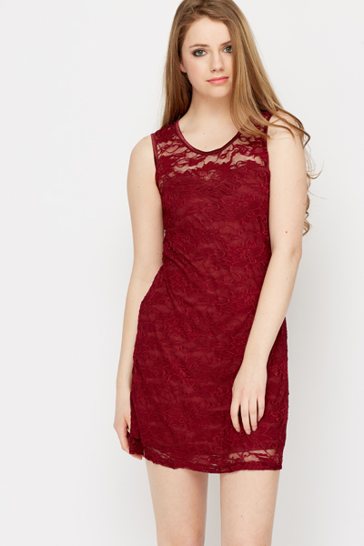 Laced Sweetheart Neck Dress