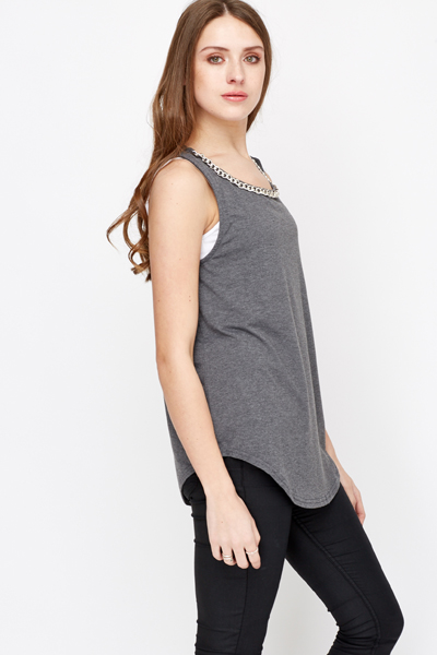 Oversized Chain Trim Vest
