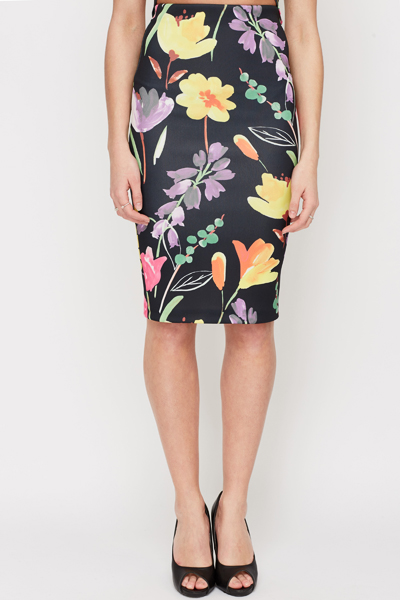 Black Floral Print Pencil Skirt - Just £5