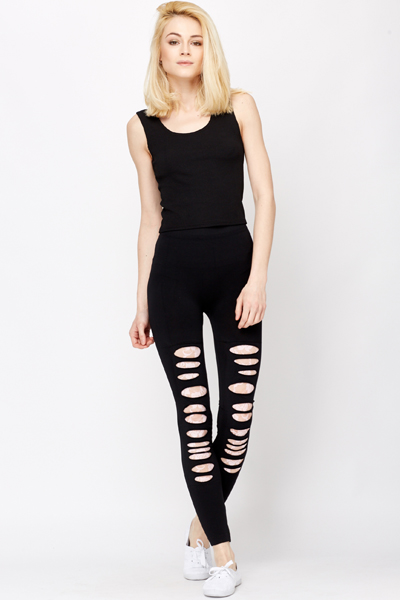 Cut Out Lace Insert Leggings