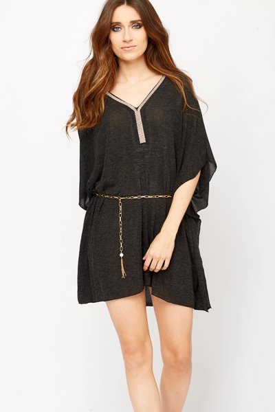 Diamante Trim Neck Tunic Dress
