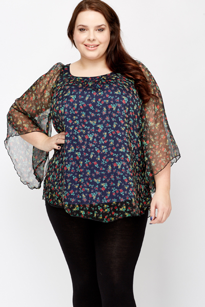 Floral Print Sheer Sleeve Top