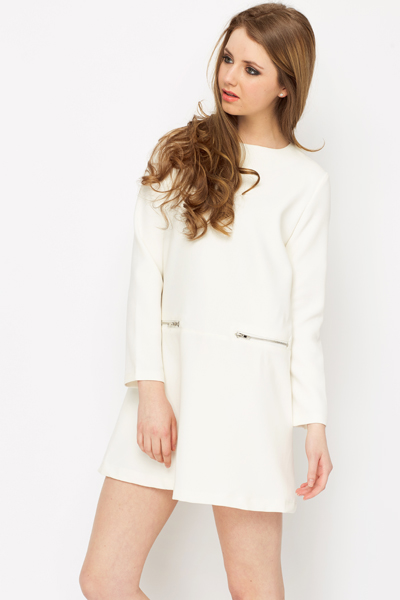 Long Sleeve Zip Skater Dress