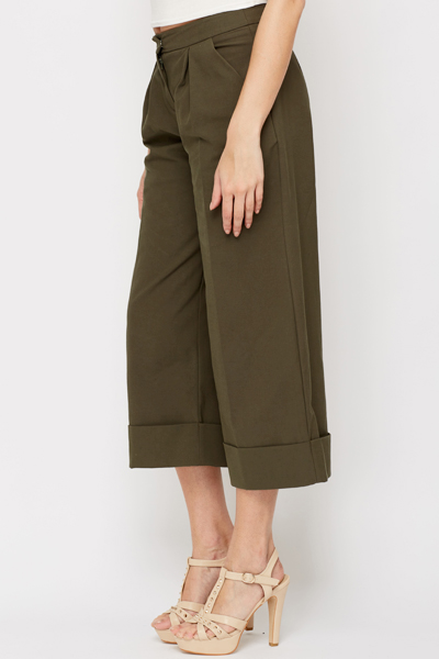 Wide Leg Turn Up Trousers