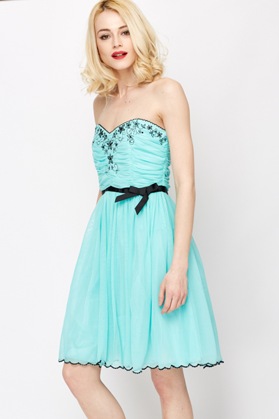Flower Embroidery Prom Dress