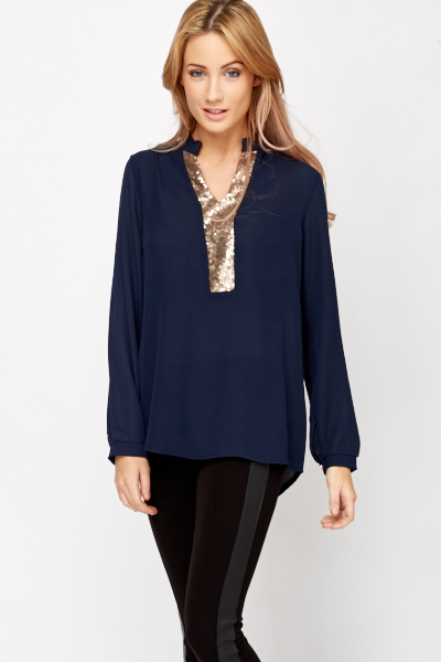 Sequin Panel Oversized Shirt