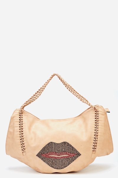 Encrusted Lip Print Bag