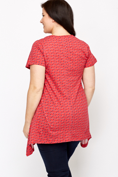 Printed Dip Side Top