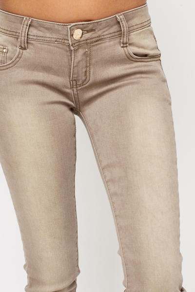 Brown Faded Slim Jeans