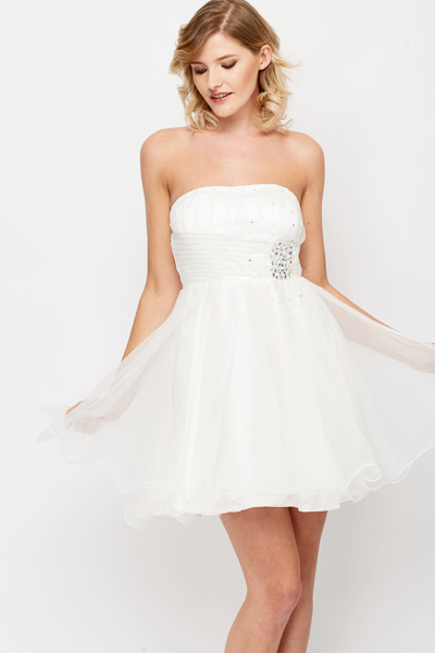 Embellished Bandeau Prom Dress