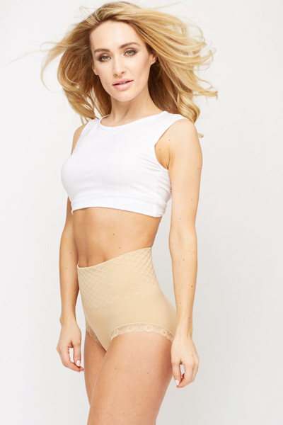 Lace Trim Patterned Waist Shaper Briefs