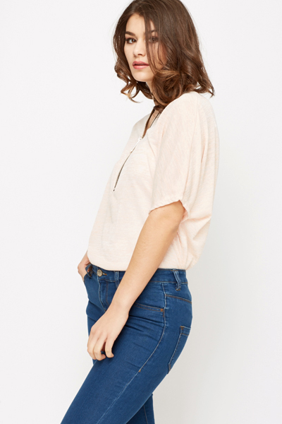 Ruched Zip Up Top