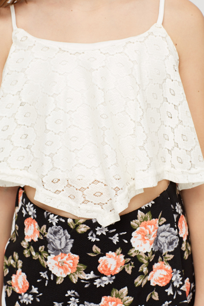 Lace Overlay Crop Top