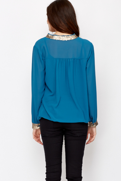 V-Neck Sequin Trim Top