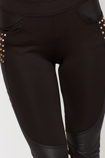 Studded Faux Leather Insert Leggings