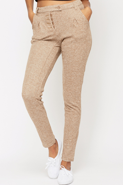 Button Up Cotton Blend Trousers