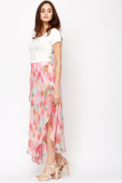 Layered Floral Maxi Skirt