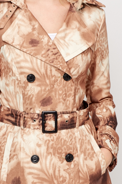 Leopard Buckled Trench Coat