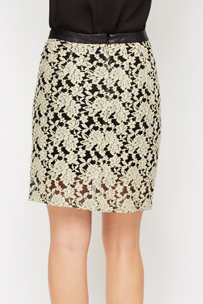 Lace Layered Faux Leather Skirt