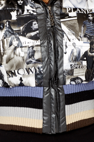 Magazine Printed Puffa Jacket