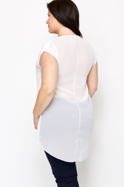 Mesh Back Tunic Top