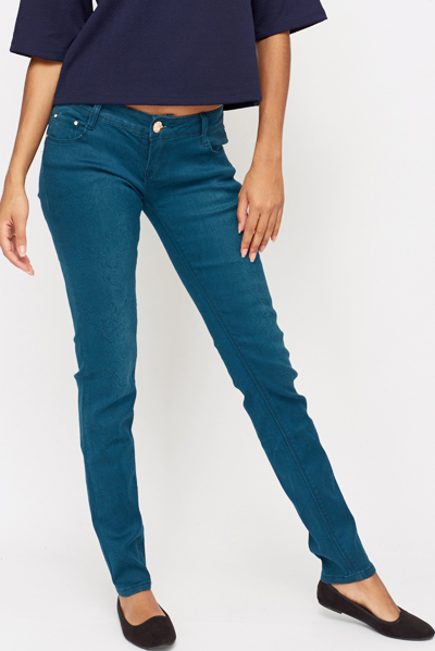 Petrol Floral Textured Jeans
