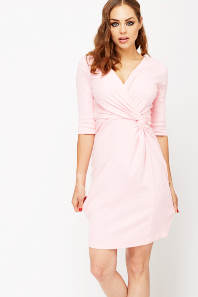 Pink Drape Knot Dress