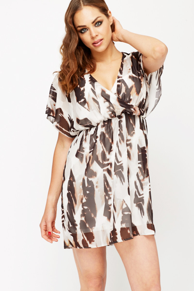 Textured Feather Print Dress
