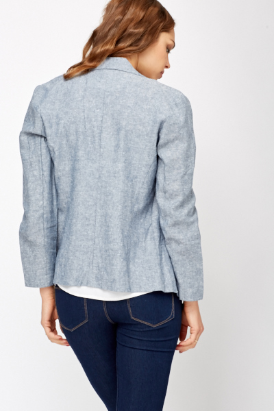 Blue Speckled Open Front Blazer