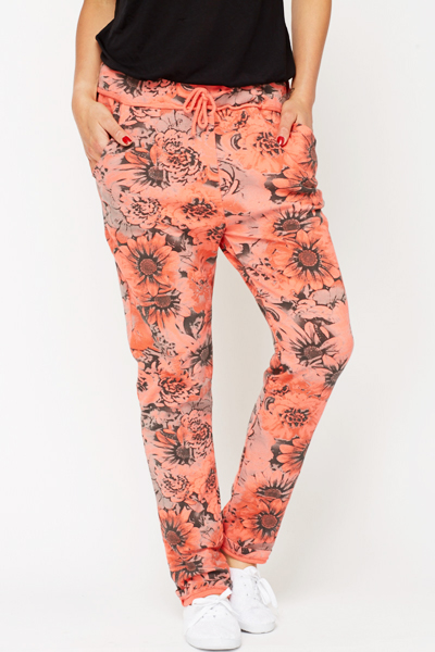 Contrast Floral Print Trousers