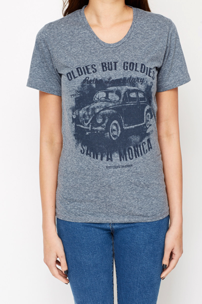 Cotton Car Print T-Shirt