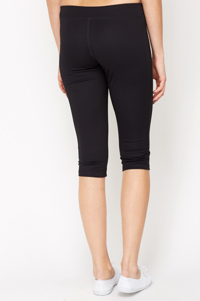 Cropped Black Sports Trousers