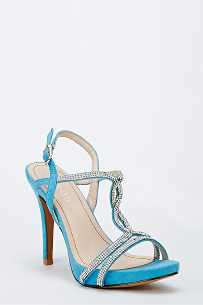 Diamante Strappy Mid Heel Sandals