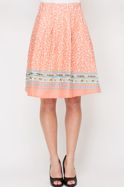 Pleated Floral Summer Skirt