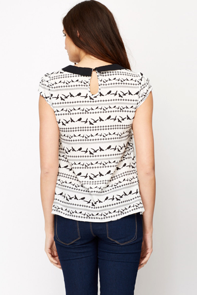 Contrast Collar Bird Print Blouse