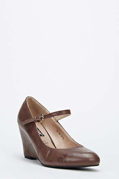 Faux Leather Front Strap Wedge