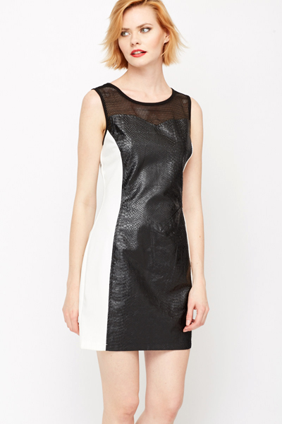 Mock Croc Panel Bodycon Dress
