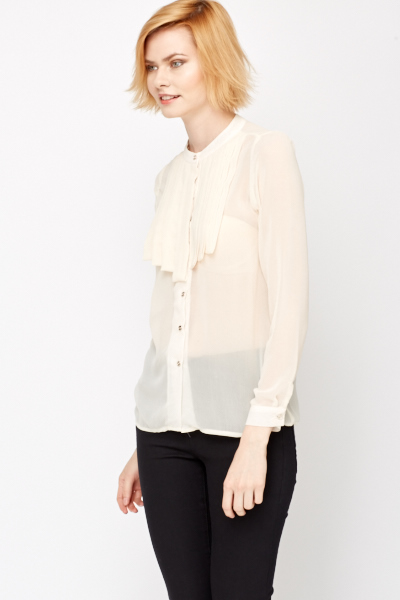 Pleated Bust Sheer Blouse