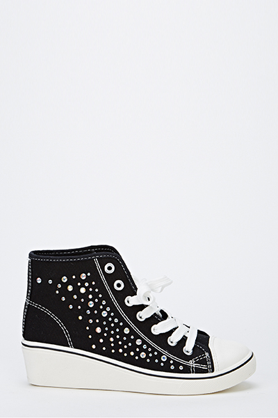 Canvas Diamante Wedge