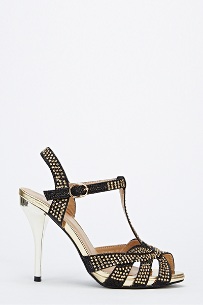 Diamante Peep Toe Strappy Heels