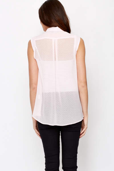 Pink Sheer Sleeveless Shirt