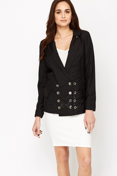 Black Black Button Up Blazer
