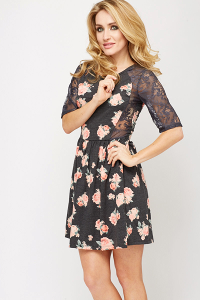 Floral Lace Trim Skater Dress