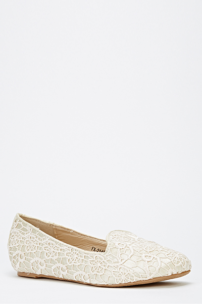 Lace Overlay Wedge Flats