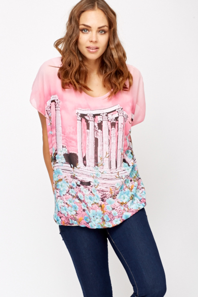 Oversized Temple Floral Print Top