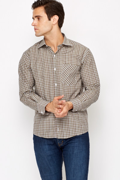 Checked Khaki Shirt