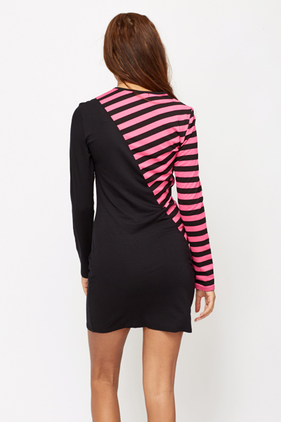 Colour Block Stripped Bodycon Dress