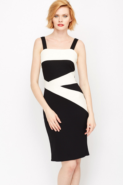 Contrast Panel Bodycon Dress