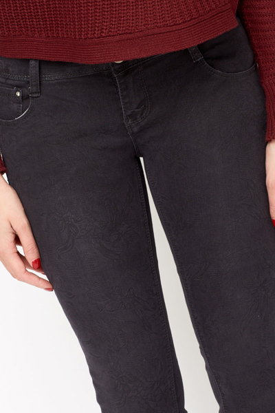 Diamante Studded Pocket Navy Jeans